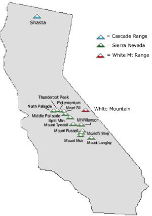 california 14ers map california map